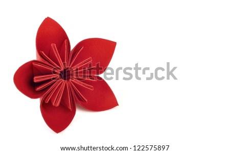 red paper flower artwork - stock photo