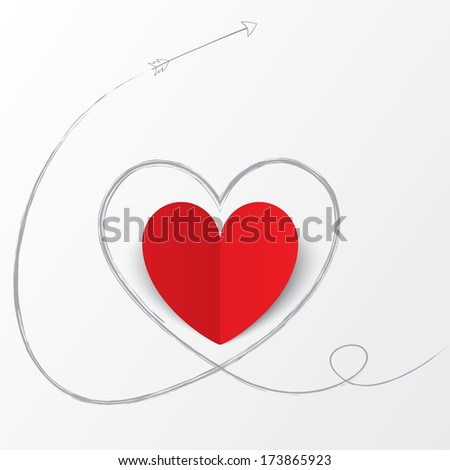 Red paper heart with arrow path. Valentines day card on white background. Cut from paper.  illustration - stock photo