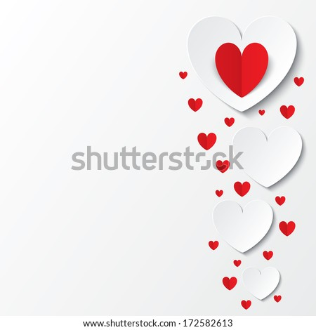 Red paper hearts Valentines day card on white background. Cut from paper.  illustration - stock photo