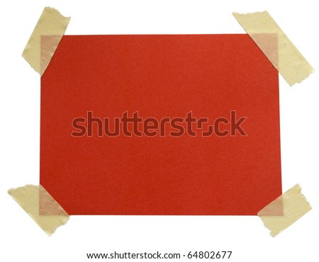 red paper note with sticky tape isolated on white background - stock photo