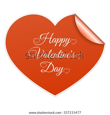 Red paper sticker heart Valentines day card with sign on it. Raster version - stock photo