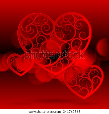Red paper suspended patterned hearts of different shapes against the red background with lights. Valentine greeting card - stock photo
