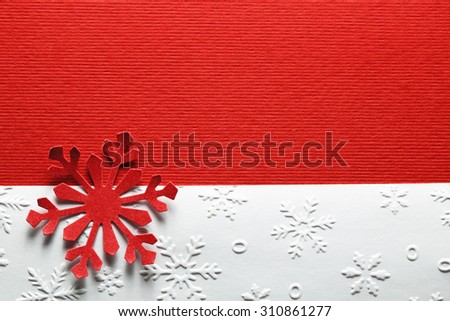 Red paper textured snowflake,Christmas decoration - stock photo