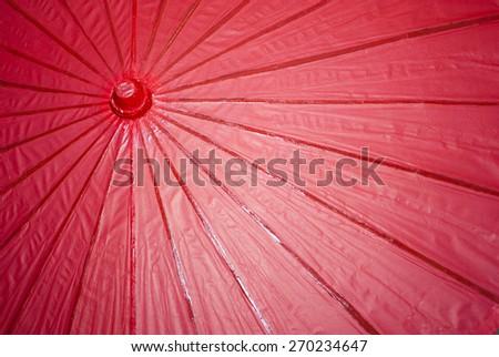 Red Paper Umbrella - stock photo