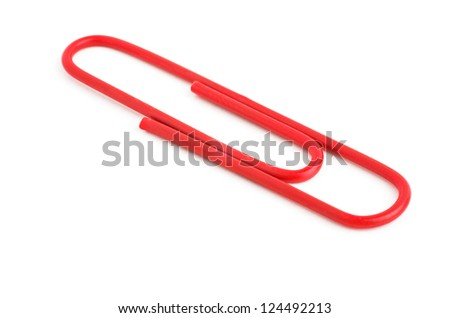 red paperclip - stock photo