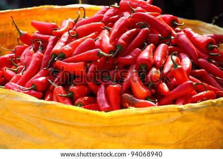 Red paprica in traditional vegetable market in India. - stock photo