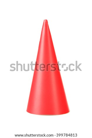 Red party hat, isolated on white - stock photo