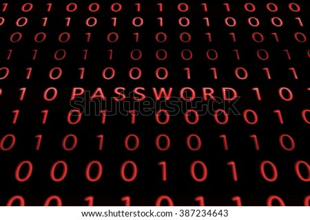 Red Password and Binary Code on Black LCD Screen - stock photo