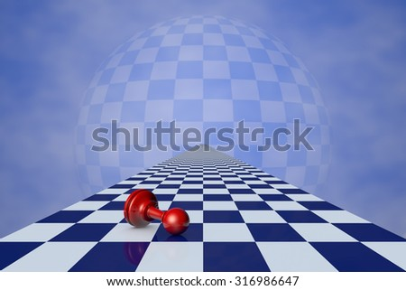 Red pawn on the chessboard long (fantastic background). - stock photo