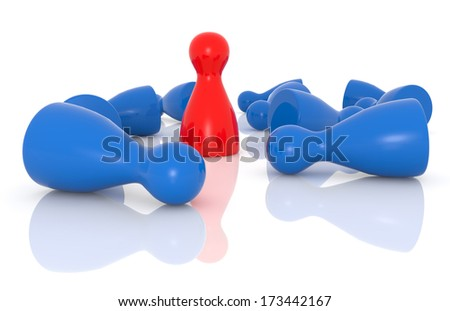 red pawn standing among blue fallen pawns - stock photo