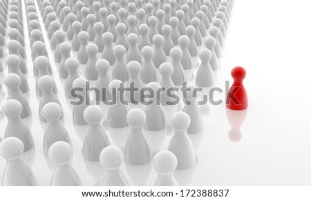 red pawn standing out the white crowd - stock photo