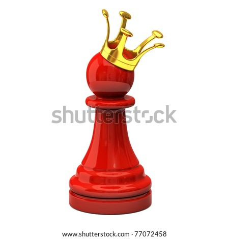 Red pawn with a golden crown - stock photo