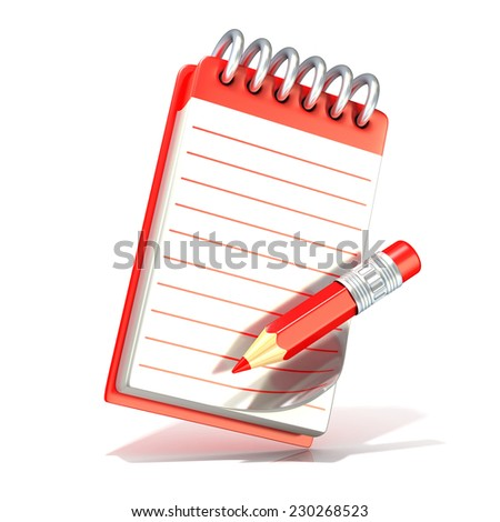 Red pencil and notepad. 3D render isolated on white background - stock photo