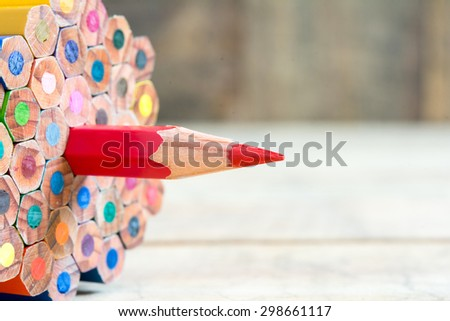 Red pencil of primary color  - stock photo