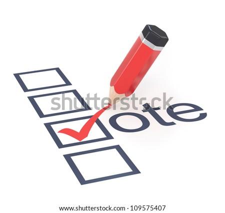 Red pencil placing ticks in check box. Vote concept illustration. - stock photo