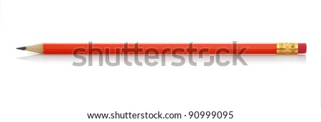 Red pencil with eraser. It is isolated on a white background - stock photo