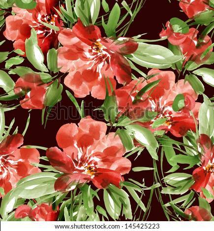 Red Peonies seamless pattern - stock photo