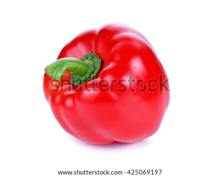 red pepper isolated on white - stock photo