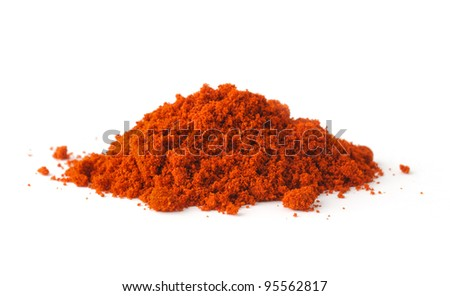 Red pepper, paprika spice on white background - stock photo