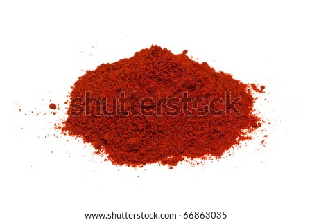 Red pepper spice isolated on white background. - stock photo