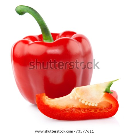 Red Pepper with a slice cut isolated on white background - stock photo