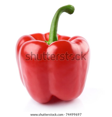 Red Peppers on white background - stock photo