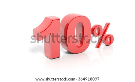 Red 10 percent number, isolated on white background. - stock photo