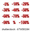 Red percent set (isolated,done in 3d) - stock photo