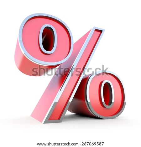 Red percent sign - stock photo