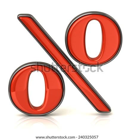 Red percentage icon - stock photo
