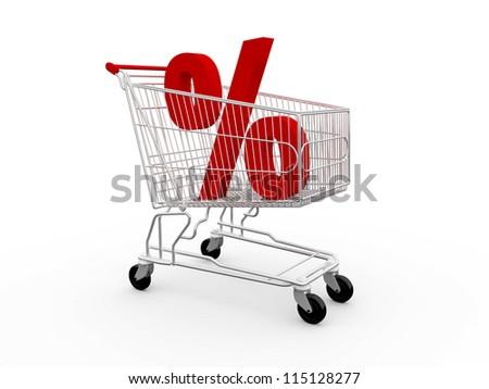 Red percentage symbol in shopping cart, isolated on white background. - stock photo