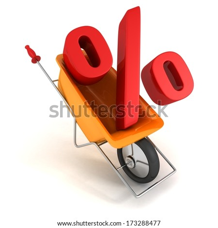 Red percentage symbol on delivery cart - stock photo