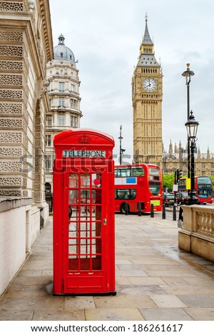 Red phone booth and Big Ben. London, England  - stock photo