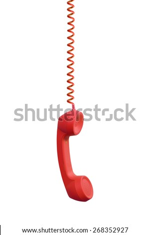 Red phone receiver hanging, isolated on white background - stock photo
