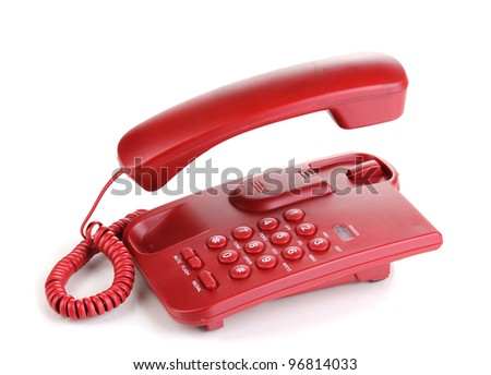 Red phone with floating handset isolated on white - stock photo