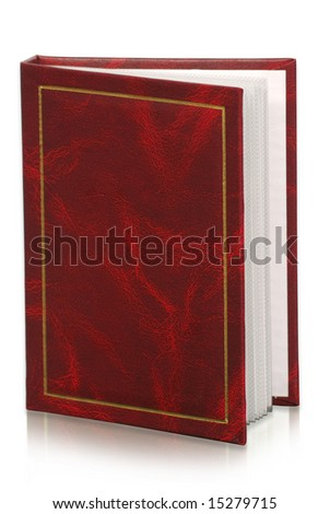 red photo album  isolated  background. clipping path included - stock photo