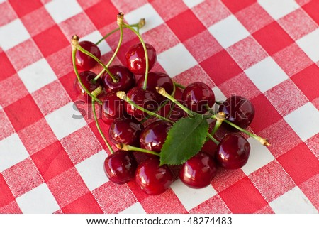 Red picnic cloth with cherry 12. - stock photo
