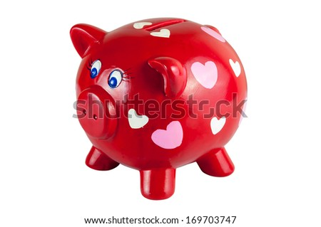 Red piggy bank with hearts isolated on white background, clipping path included - stock photo