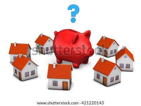 Red piggy bank with house buildings und blue question mark on the white. 3d illustration. - stock photo