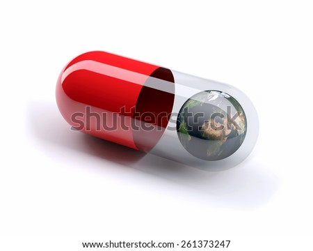 red pill filled with planet earth, isolated 3d illustration. Elements of this image furnished by NASA. - stock photo