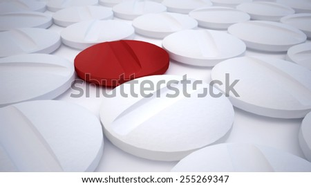 Red pill, isolated among white pills, unique one, special one concept - stock photo
