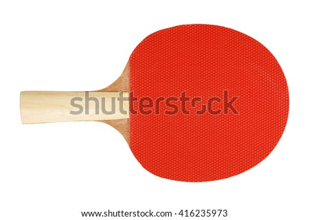 red ping pong racket isolated on white - stock photo