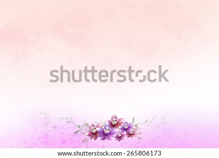 red & pink flowers with leaves over grunge background. Romantic, texture, valentine, natural, graphic, floral, wedding, elegant, art pattern, invitation card, wallpaper, artistic idea template - stock photo