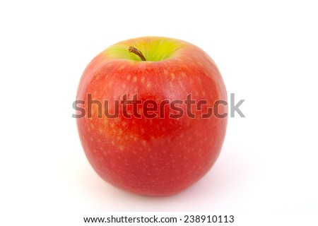 Red Pink Lady apple on white background - stock photo