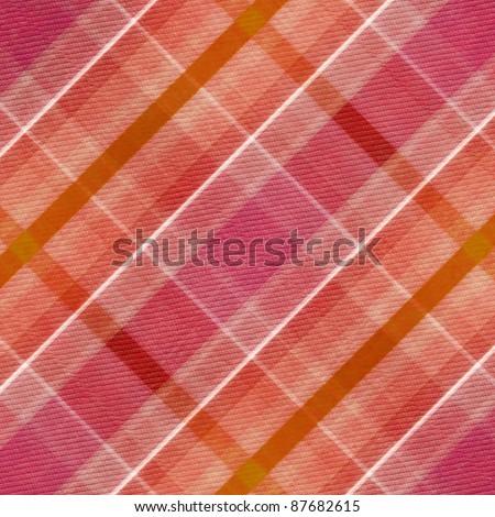 red, pink, white  and orange plaid  pattern - stock photo