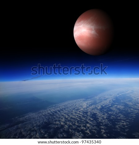 Red planet above the Earth's surface. Are there other planets like Earth? Combination of photo and 3D render. - stock photo