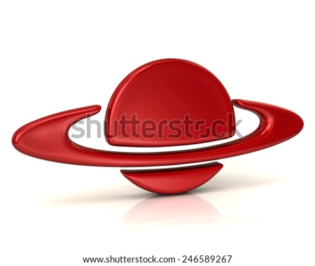 Red planet icon - stock photo