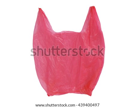 Red Plastic bag empty isolated on white background - stock photo