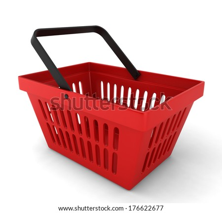 Red plastic basket. 3d illustration on white background  - stock photo