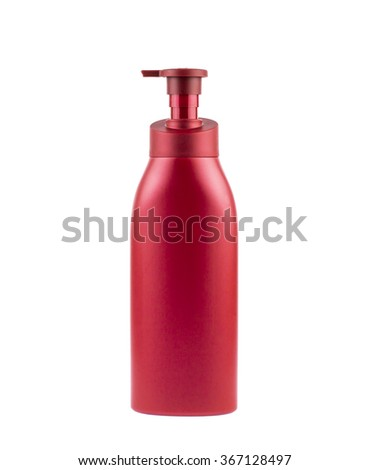 red plastic bottle with the pump isolated on a white background, clipping path. - stock photo